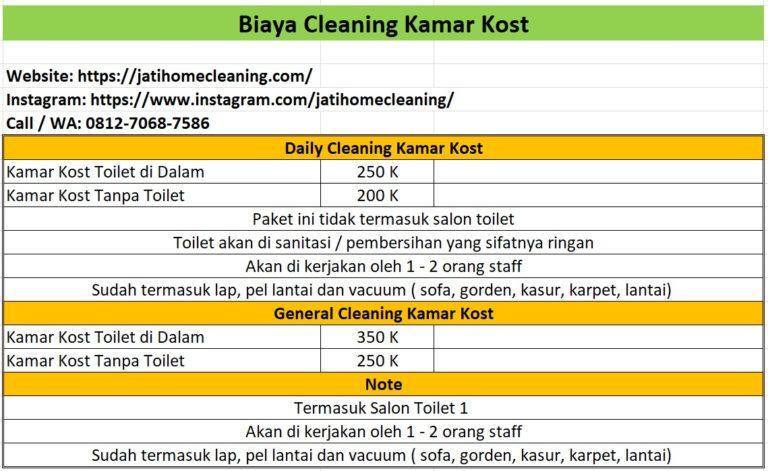 biaya cleaning service kamar kost di batam